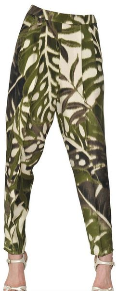 Giambattista Valli Jungle Printed Silk Shantung Trousers - Lyst