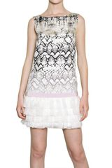 Giambattista Valli Organza Ruffled Hem Printed Linen Dress - Lyst