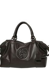 Giorgio Armani Logo Grained Leather Weekend Bag - Lyst