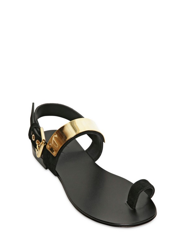 fd8361f5709b Lyst - Giuseppe Zanotti Velour and Gold Plaque Thong Sandals in ...