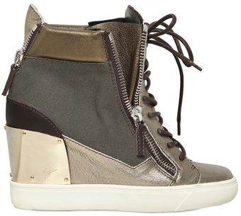 Giuseppe Zanotti 90mm Canvas Calfskin Sneakers Wedges - Lyst