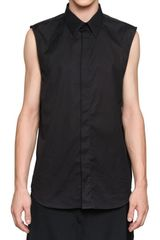 Givenchy Cotton Poplin Sleeveless Slim Fit Shirt - Lyst