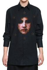 Givenchy Madonna Cotton Canvas Oversized Shirt in Black for Men - Lyst