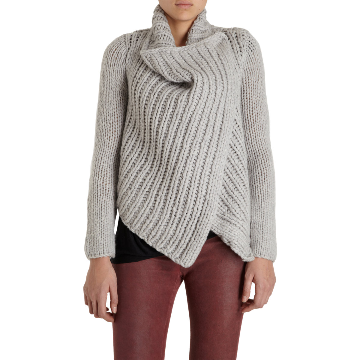 Helmut lang Chunky Knit Wrap Front Sweater in Gray | Lyst