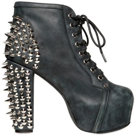 jeffrey cbell 120mm lita leather spiked boots in black