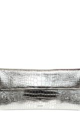 Jil Sander Printed Metallic Leather Envelop Clutch