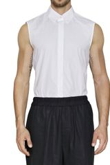 Jil Sander Cotton Poplin Sleeveless Shirt - Lyst