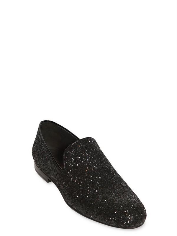 da11e59d24ec Lyst - Jimmy Choo Coarse Glitter Fabric Slip On Loafers in Black for Men