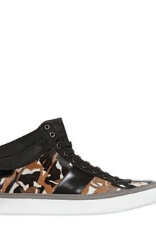 Jimmy Choo Camouflage Pony Skin High Top Sneakers - Lyst