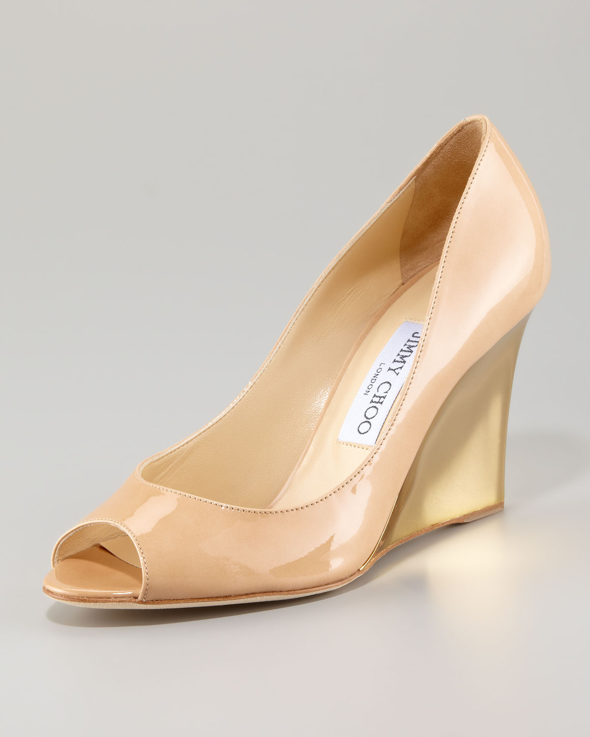 c01e50b3eb7 Lyst - Jimmy Choo Baxen Peeptoe Wedge Pump in Natural