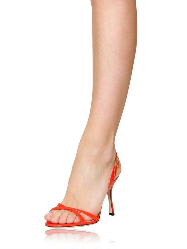 7d00db86e6d4 Lyst - Jimmy Choo 85mm India Patent Leather Sandals in Orange