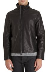 John Varvatos Asymmetric Zip Front Leather Jacket - Lyst