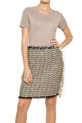 Lanvin Cotton Tweed Linen Knit Dress - Lyst