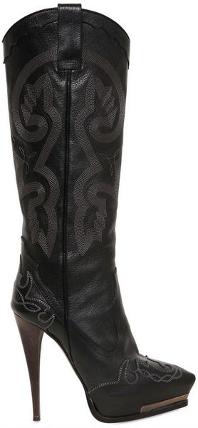 Lanvin 130mm Embroidered Leather Boots in Black - Lyst