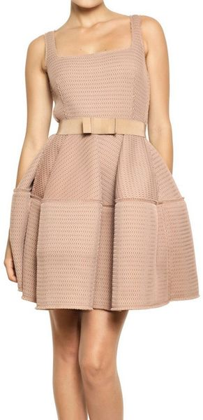Lanvin Techno Net Baby Doll Dress in Pink (powder) - Lyst