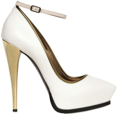 Lanvin 130mm Mirrored Heel Leather Pumps in Beige (white) - Lyst