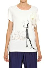Lanvin Sequined Cotton Bamboo Jersey Tshirt - Lyst