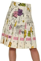Marni Printed Cotton Poplin Pleated Skirt - Lyst