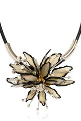 Marni Horn and Leather Flower Necklace - Lyst