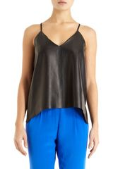 Mason by Michelle Mason Leather Front Tank - Lyst
