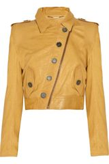 Matthew Williamson Washedleather Cropped Biker Jacket - Lyst