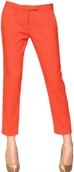 Msgm Techno Stretch Cotton Trousers in Orange (coral)