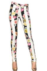 MSGM Flower Stripe Stretch Cotton Drill Jeans - Lyst