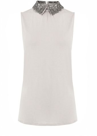 Oasis Lace Collar Sleeveless - Lyst
