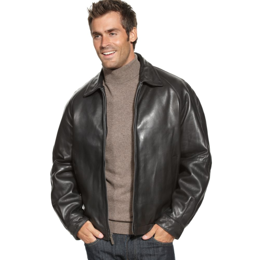 perry ellis lambskin leather bomber jacket in black for