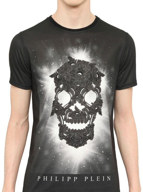 Philipp plein swarovski skull cotton jersey tshirt in for Swarovski crystal t shirts