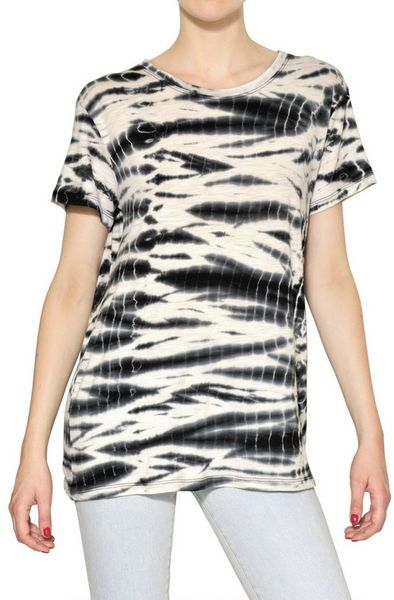 Proenza Schouler Tie Dye Cotton Jersey T-Shirt in Black - Lyst