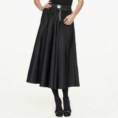 Ralph Lauren Black Label Silk Taffeta Melodie Skirt in Black
