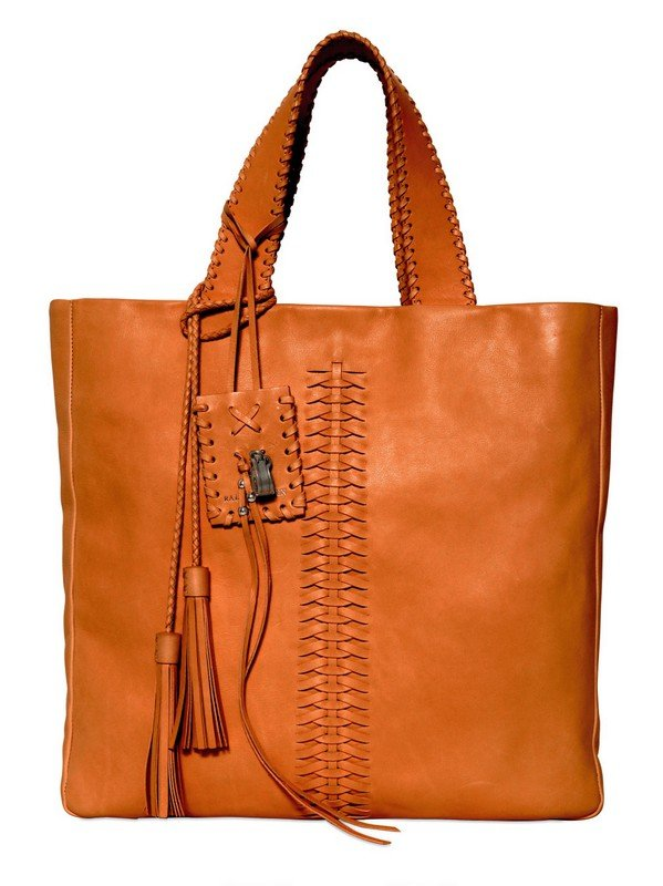 d660125161c2 Lyst - Ralph Lauren Woven Tassels On Brushed Leather Tote in Brown