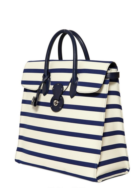 483064b4ac03 Lyst - Ralph Lauren Rickie Striped Canvas and Leather Tote in White