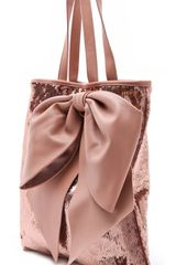 Red Valentino Paillettes Bow Tote in Pink - Lyst