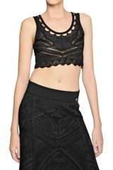 Roberto Cavalli Crochet Viscose Knit Top - Lyst