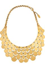 Roberto Cavalli Goldplated Bib Necklace - Lyst