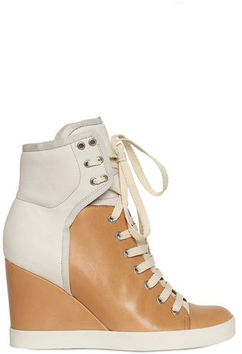 See By Chloé 85mm Nubuk Two Tone Sneaker Wedges - Lyst