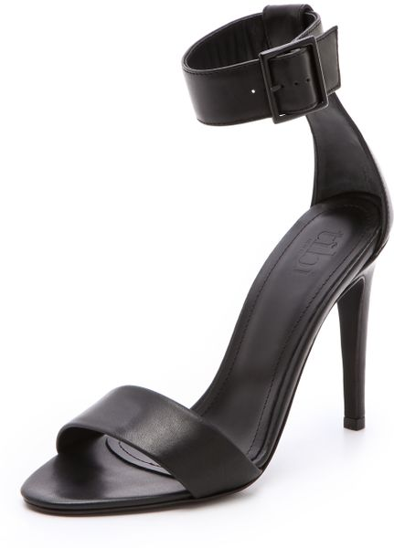 Tibi Carine Ankle Strap Sandals in Black