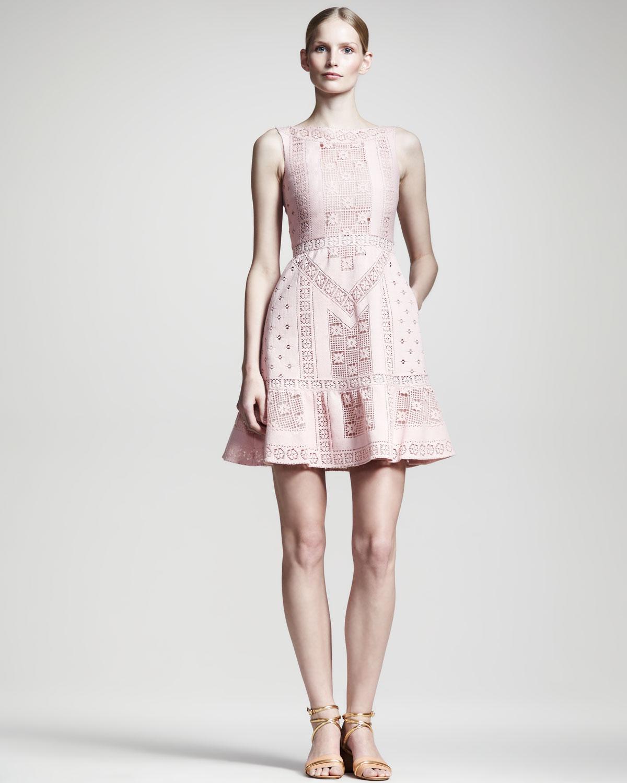 Valentino Lace Voulant Dress Poudre
