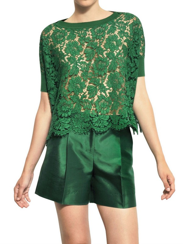 Lyst - Valentino Cotton Viscose Lace Top in Green