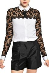 Valentino Cotton Lace On Cotton Poplin Shirt - Lyst