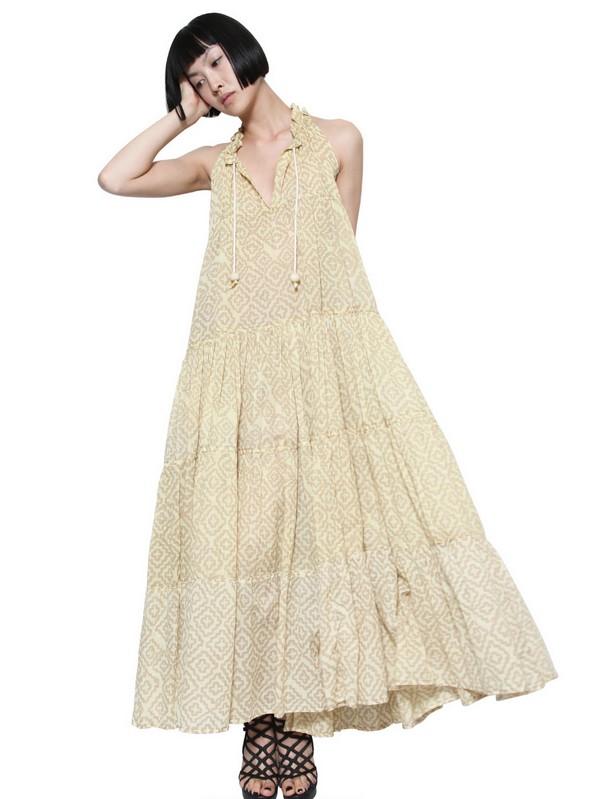 Yvonne s Drawstring Organic Cotton Long Dress in Natural - Lyst