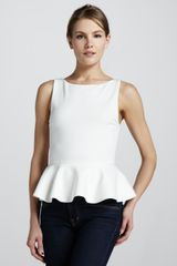 Alice + Olivia Sleeveless Ponte Peplum Top  - Lyst