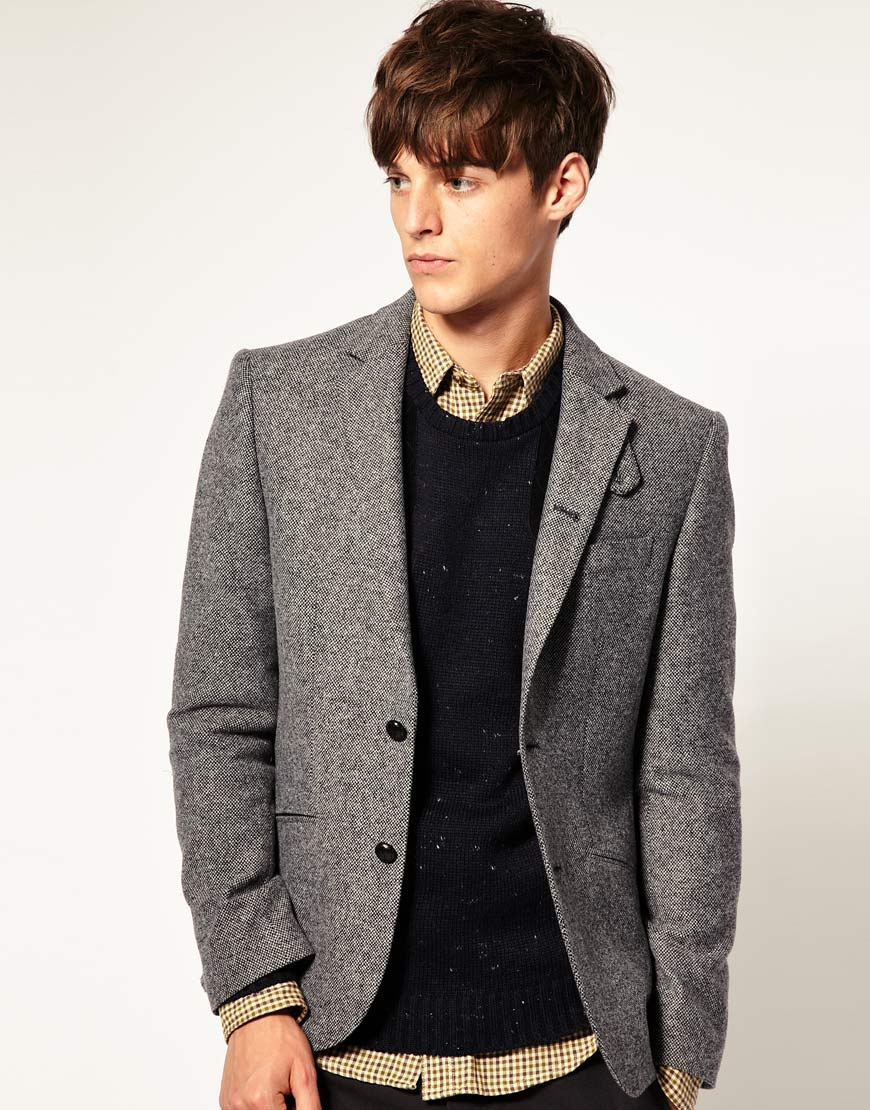 17b7d10f2a2 Lyst - ASOS Asos Slim Fit Tweed Blazer in Grey in Gray for Men