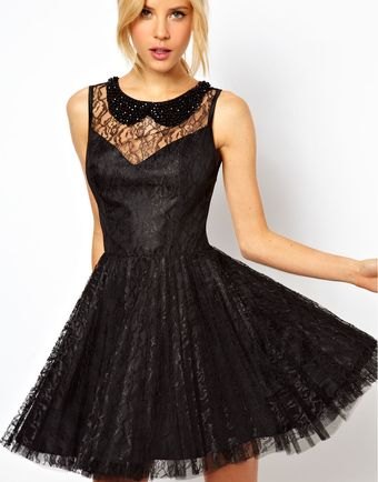 ASOS Collection Lace Skater Dress with Pleated Skirt - Lyst