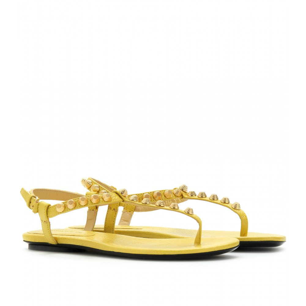 50020eafc39d Lyst - Balenciaga Giant Studded Leather Sandals in Yellow
