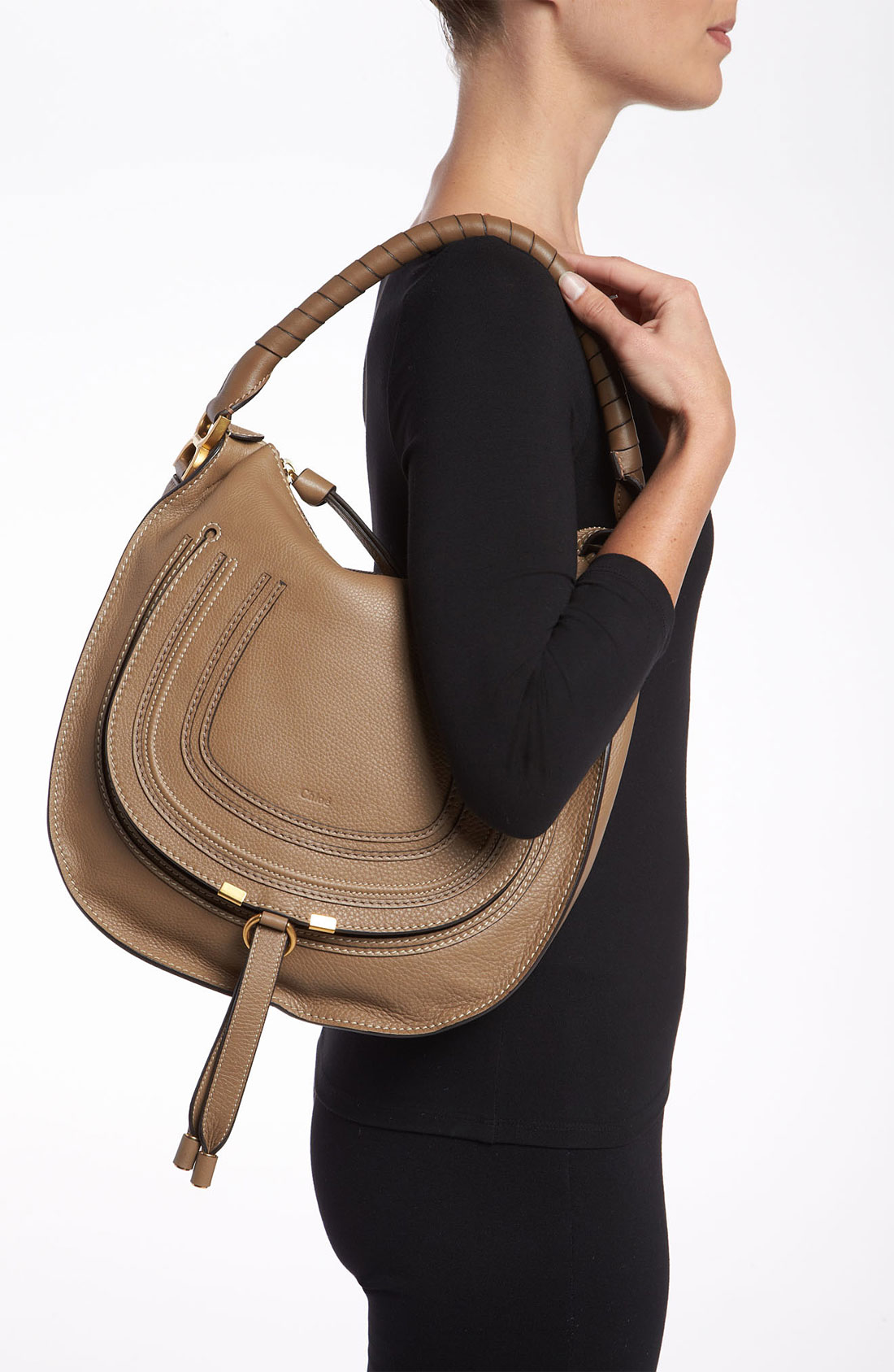 Chlo¨¦ \u0026#39;Marcie - Medium\u0026#39; Leather Hobo in Khaki (nut) | Lyst