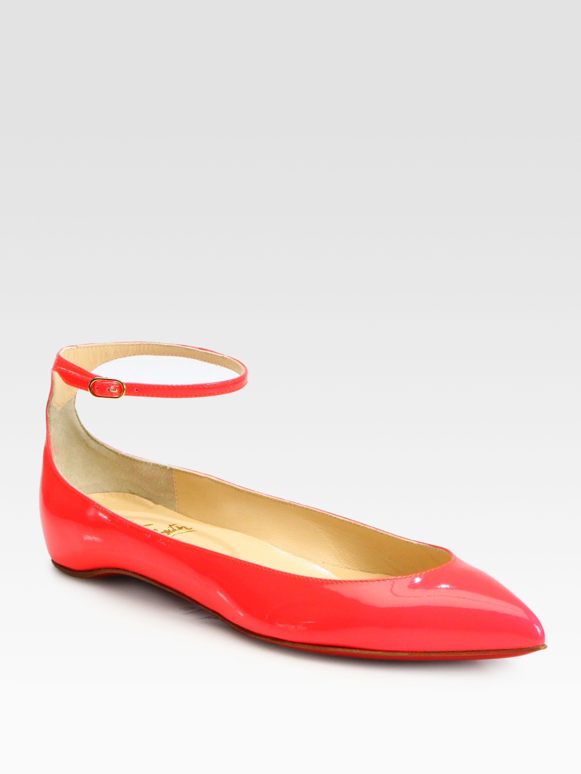 c4c24ad3a5d Lyst - Christian Louboutin Mrs H Patent Leather Ankle Strap Ballet ...