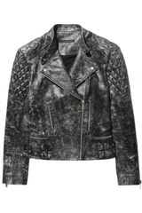 Christopher Kane Cracked Leather Biker Jacket
